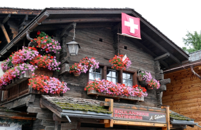 Typical chalet in Grimentz, Val d'Anniviers, Valais.