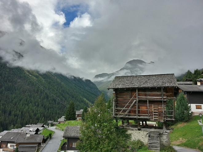 Typical Alpine village in Switzerland
