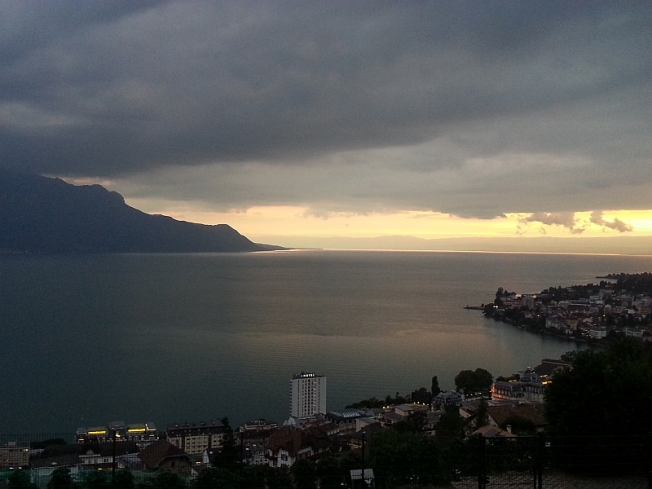Lac Leman above Montreux at sunset - VD.