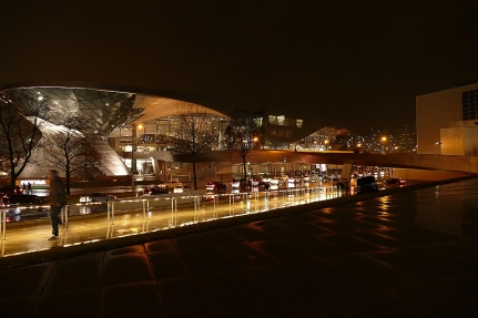 Munich, BMW Welt on a rainy fall evening